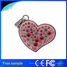 Promocionais Girl's Gift Coração Crystal Pendrive jóias 8GB USB Flash Drive