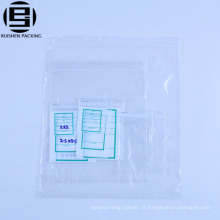 Sacs plats transparents blancs bon marché en plastique recyclable avec le zip-lock pour l'emballage Sac rescellable / sac de tirette