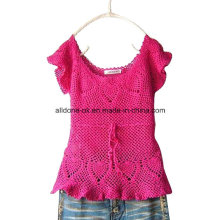 Sexy Fashion Pink Short Sleeve Hand Crochet Ladies Summer Dress