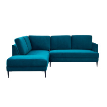 Mid Century Modern Sectional Couch Living Room Furniture Blue Fabric L Shaped Corner Sofa