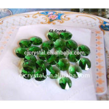 Lampwork Green Crystal Octagon Perlen
