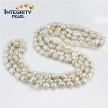Long Pearl Necklace 7mm AA Baroque 60 Inches Pearl Necklace Costume Jewelry