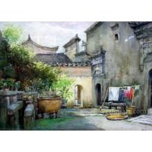 Paisagem tradicional da pintura a óleo da arte Pinturas indianas da vila (ESL-089)
