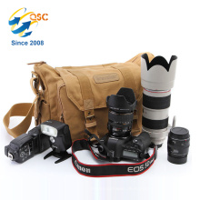 Großhandelsbraun DSLR Kamera-Schulter-Beutel-Segeltuch aufgefüllte Schulter-Reise-Tasche