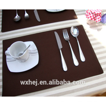 Barato cor sólida placemat jantares conjunto de mesa taça pad