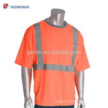 Kundengebundene hohe Sichtbarkeit grauer Kragen-T-Shirts ANSI Klasse 2 orange Sicherheits-preiswerte Arbeits-T-Kleidung mit reflektierenden Bändern