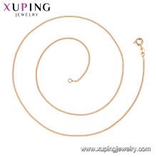 44738 Xuping Gros bijoux 18k plaqué or simples colliers de chaîne de style classique