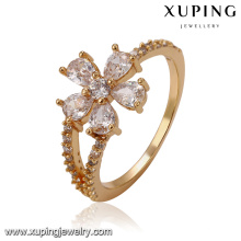 14304 Flower shape gold ring design 18k gold color fashion jewelry zircon ring for girls