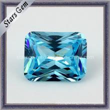 Aqua Blue Rectangle Shape Octagon Princess Cut Cubic Zirconia