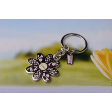 Pink flower petals key chain