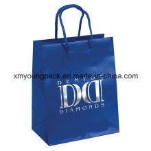 Moda azul corda Handle saco de compras de papel de arte