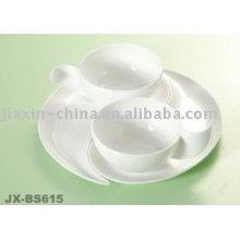 Juego de taza y platillo de porcelana blanca JX-BS615