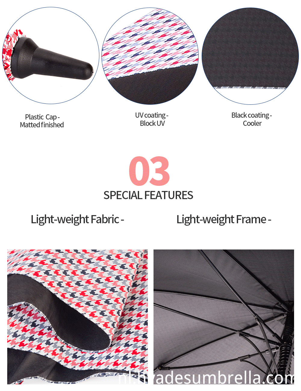 Auto Open Golf Umbrella light weight fabric detail