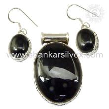Новое прибытие черный Оникс драгоценный камень серебро комплект ювелирных изделий стерлингового серебра 925 ювелирные изделия оптом ювелирные изделия