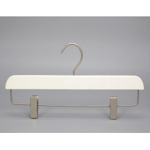 Luxury wooden white color pants hanger with golden metal clips