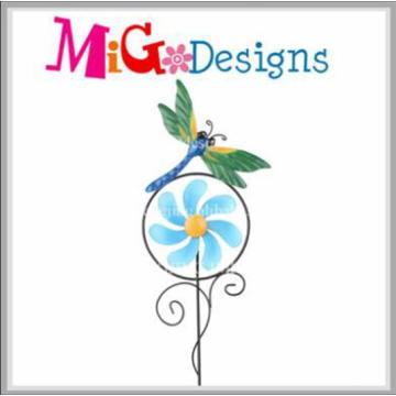 Estanho elegante joaninha moinho de jardim estaca mão-impressão estacas de metal