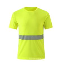 Breathable fluoreszierende gelbe Sicherheit T-Shirt mit reflektierendem Streifen