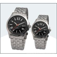Montre en acier inoxydable amant, montres à Quartz Couple (15168)