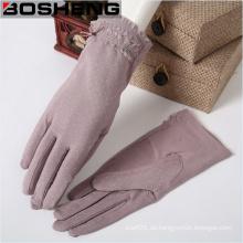 Moda guantes de tela tejida invierno con punto de onda