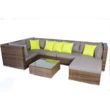 Brown Rattan Salão Jardim Lounge Sofá Set