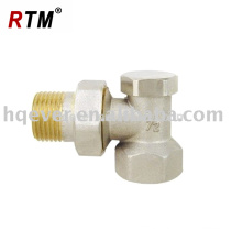 Forged brass angle radiator valve with lockshield