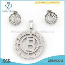 Ensemble de forme ronde directe en usine de la Chine, coutume en argent et en acier inoxydable, ensembles de bijoux, vente chaude