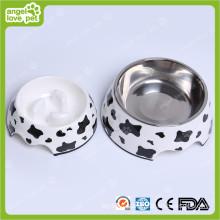 Bol de mélamine de vache lait avec bol d'animaux de fer en acier inoxydable