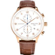 Simple Fashion Business Quartz Watch avec multifonctionnel Waterproof Sports Business Leather Strap Watch Tous les Dial Working