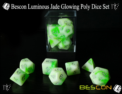 Bescon Luminous Jade Glowing Poly Dice Set-6