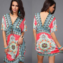 Wholesale Sexy Women V-Neck Beach Floral Kaftan with Lace (XY201)