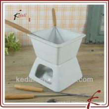 Square shape ceramic chocolate fondue set with fork