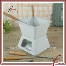 Quadrado, forma, cerâmico, fondue, chocolate, fondue, garfo