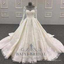 Luxo rendas vestidos de noiva de manga comprida China Custom Made vestidos de novia vestido de noiva