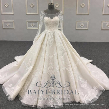Vestidos de novia de manga larga de encaje de lujo China por encargo vestidos de novia vestido de novia