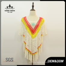 Frauen Floral Fashion Fringe Lace Poncho Pullover