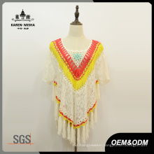 Women Floral Fashion Fringe Lace Poncho Sweater