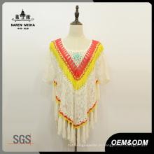 Camisola floral do poncho do laço da franja da forma das mulheres