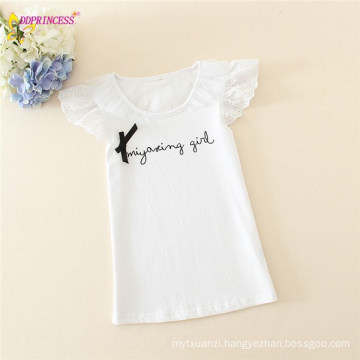 Girls Loose Letters Tops With Embroidered Butterfly Short Sleeves