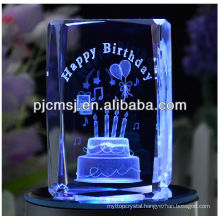 good birthday cake engraving 3d laser crystal cubes for birthday gift