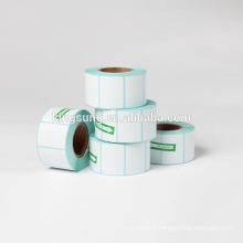 Les étiquettes thermiques directes blanches blanches d'étiquette-code roule des rouleaux pour l'imprimante de zèbre