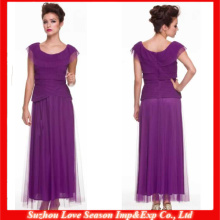 HM0053 Latest Designer High quality OEM wholesaler cap sleeve ankle length tulle overlay dark purple mother of the bride dress