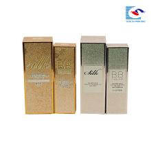 caixa de papel cosmético do ouro do carimbo do brilho para o creme do BB