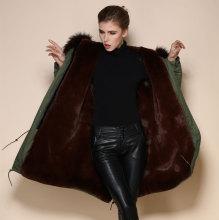 2017 Women's Winter Thick Removable Fur Collar Coat Outerwear Women Parka