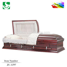 JS-A597 beautiful low priced solid pine casket