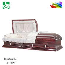 Caixão de bela baixa preços pinho maciço JS-A597
