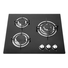 Tapa de cocinar de cristal moderada negra de 3 hornillas, cocina de gas