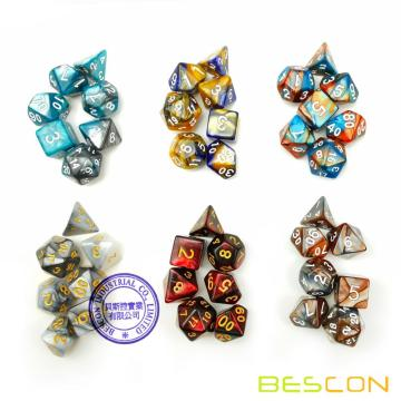 Bescon New Style 6X7 42pcs Polyhedral Würfel Set, 6 Einzigartige Shiny Zwei-Ton Gemini Polyedral 7-Die Sets Dungeons and Dragons DND