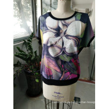 Sommermode neuesten Blumendruck Baumwolle Frauen T-Shirt Kleidung