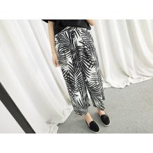 Art- und Weiseart-Palme-Uni-Chiffon- breite Bein-Hose
