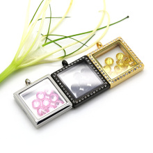 Square glass magnetic floating Locket design